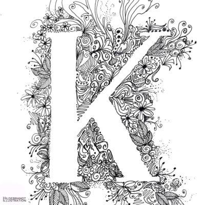K mit Blüte